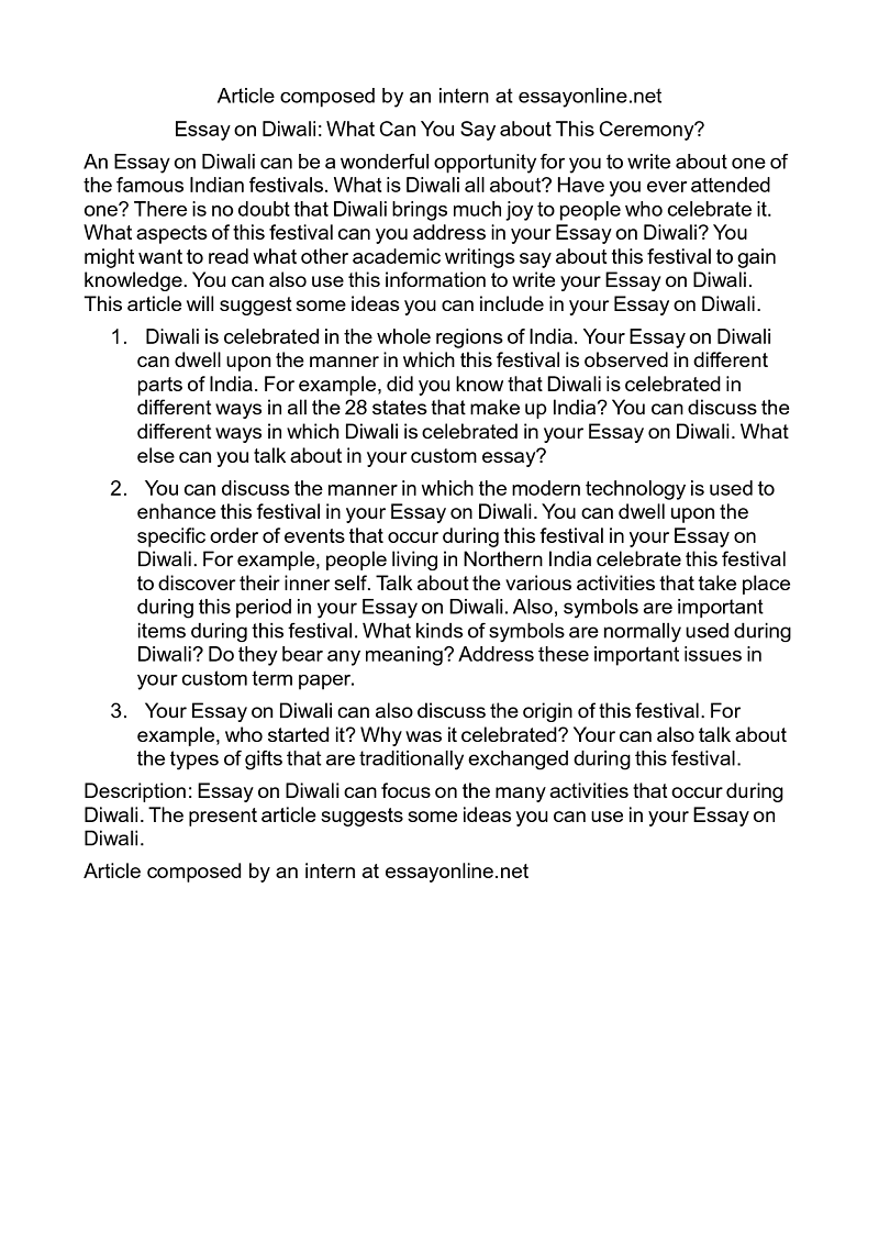 Diwali Essay In English For Class 4