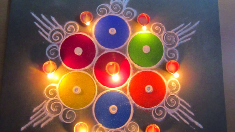 diwali raangoli designs with diya