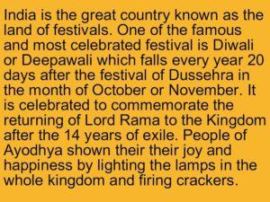 diwali essay in english 100 words