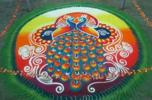 diwali rangoli designs with peacock